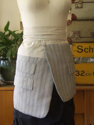 Pale blue jaket apron front
